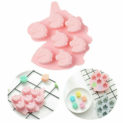 7 Unicorn Pink Silicone Mould Chocolate Fondant Jelly Ice Cube Mold • 2.27£