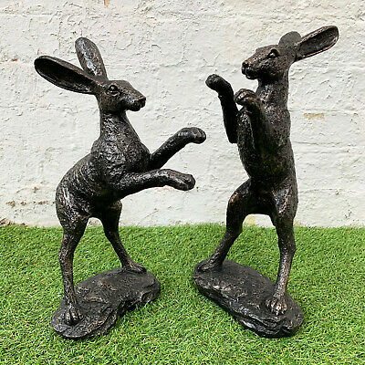 £29.99 • Buy Vintage Resin Bronze Effect Boxing Hare Figurine Statue Sculpture Ornament Gifts