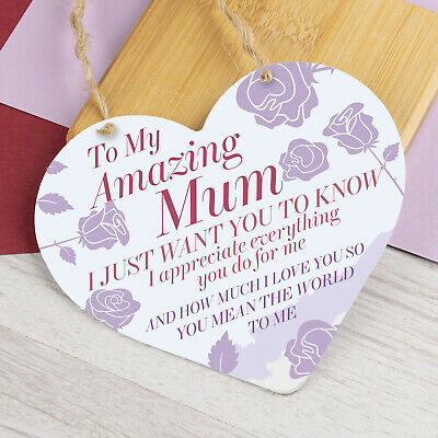 £3.99 • Buy Mothers Day Gift Hanging Sign For Mum Nan Heart Love Sign Plaque Birthday