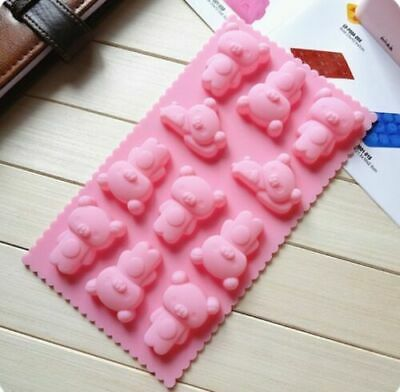 11 Adorable Bears Pink Silicone Mould Chocolate Fondant Jelly Ice Cube Mold • 3.46£