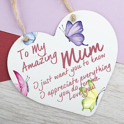 I Love You Mum Gifts Hanging Sign For Birthday Mothers Day Plaque Heart • 5.99£