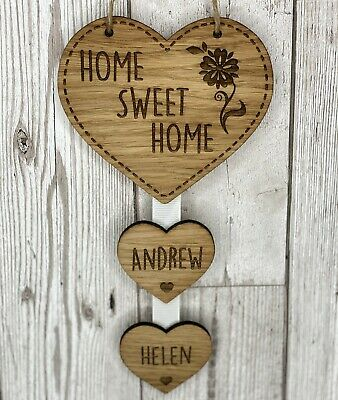 Personalised Home Sweet Home Hanging Heart New Home Housewarming Gift • 7.95£