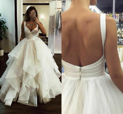 $ CDN200.03 • Buy Tiered Wedding Dresses V-Neck Sweep Train Backless Organza Country Bridal Gowns