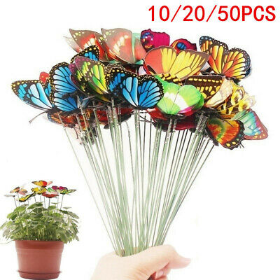 10-50Pcs Colorful Garden Butterflies Stakes Patio Butterfly Ornaments On Sticks • 3.96£