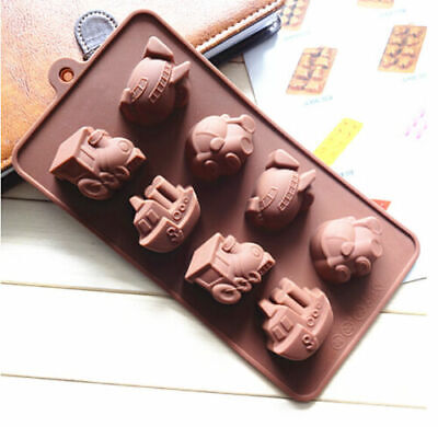 8 Train Car Ship Airplane Silicone Mould Chocolate Fondant Jelly Ice Cube Mold • 2.47£