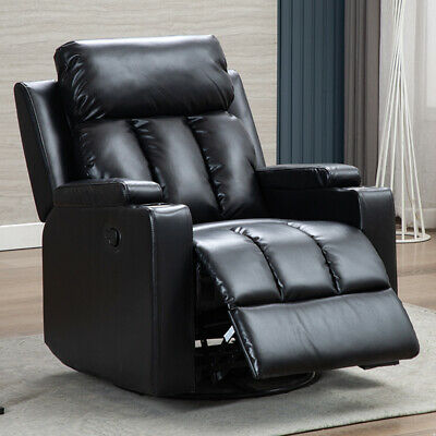 $299.99 • Buy Swivel Glider Recliner Chair Ergonomic Leather Overstuffed Sofa With Cup Holders