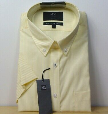 £12.99 • Buy M&S Pure Cotton OXFORD Tailored Fit SHORT SLEEVE SHIRT ~ Size 18.5   ~ YELLOW