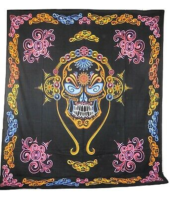 Sugar Skull Day Of The Dead Mexican Print Indian Made Cotton Throw 205 X 230cm • 16.99£