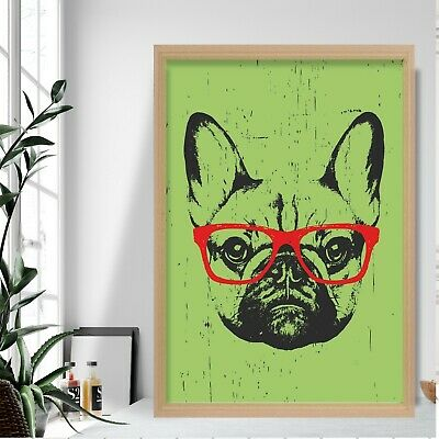 £14.50 • Buy Green Grunge Style Art Print French Bulldog SKETCH Glasses Picture Poster Decor