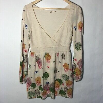 $ CDN42.43 • Buy MOTH Anthropologie Long Sleeve Wool Cashmere Tunic Top Floral V Neck Size Large