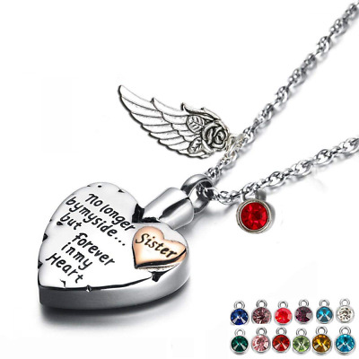 Heart Cremation Urn Necklace For Ashes Angel Wing Jewelry 12 PCS Birthstones • 18.08£