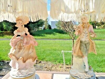 $ CDN1629.08 • Buy French Provincial Porcelain Figurine Table Lamps Fringed Lamp Shades Pink Cream
