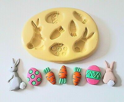 Easter Bunny Carrots Eggs Silicone Mould - FOOD SAFE Polymer Clay PMC Fondant • 6.90£