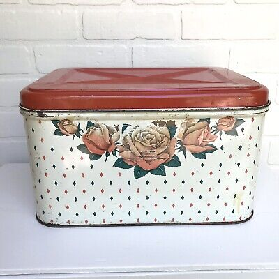 $24 • Buy Vintage Metal Tin Bread Box Hinged Lid Vented Red Floral Farmhouse Retro Storage