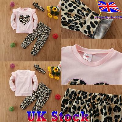 Toddler Kid Baby Girls Leopard Print Top Trousers Pants Headband Outfits 3PCS • 7.59£