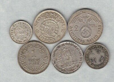 Six Silver Foreign/world Coins 1888 To 1954 In A Used Condition • 13£
