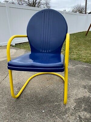 $125 • Buy 1950s Original Metal Outdoor Lawn Patio Chair University Of Michigan Football