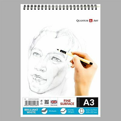 A3 Sketch Pad White Drawing Artist Paper On Spiral Book - 50 Sheets - 100 Pages • 7.99£