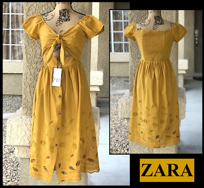 $49.88 • Buy ZARA (S) MUSTARD EMBROIDERED DRESS With OPENINGS Size SMALL BNWT 5598/035 $69.90