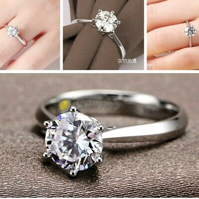 Women 925 Sterling Silver Crystal Zircon Rings Wedding Engagement Jewelry T 1/2 • 4.99£