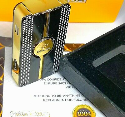 24k Gold Plated Metal Cohiba Lighter 3 Flame Turbo Jet Cigar Punch Black Boxed • 89.99£