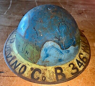 WW1 Doughboy Helmet Painted Art Named 346th INF AEF 1917-1919 • 246.67£
