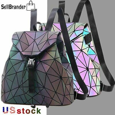 $26.99 • Buy Women Luminous Fold Geometric Backpacks For Teenage Girls Student School Bags