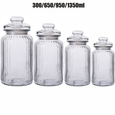 Set Of 3/4 Lid Top Glass Storage Jars Airtight Vintage Kitchen Containers Jar UK • 14.86£