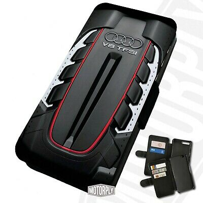 Printed Faux Leather Flip Phone Case For IPhone - Audi V8 TFSI - Engine Bay • 9.75£