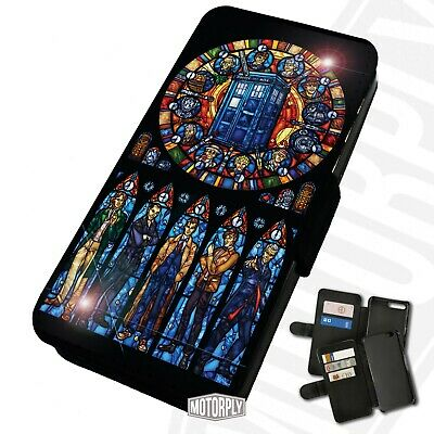 Printed Faux Leather Flip Phone Case For IPhone - Dr Who Stained Glass - Gift • 9.75£