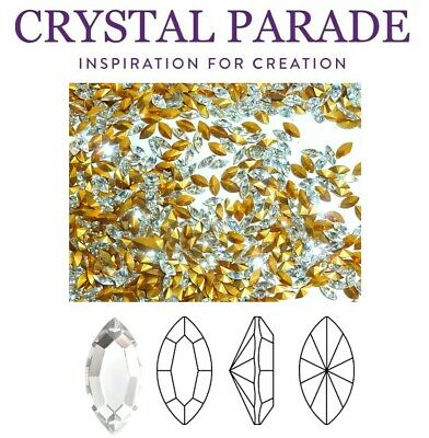 Preciosa Vintage Pointy Back Navette Crystal Clear 6 X 3mm Jewelery, Nail Art • 12£