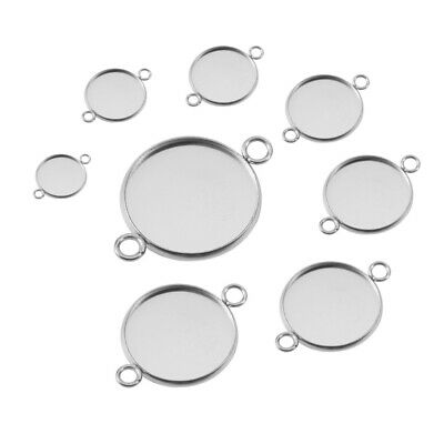 £4.10 • Buy 30x Stainless Steel Bezel Pendant Trays Cabochon Photo Jewelry Making Links