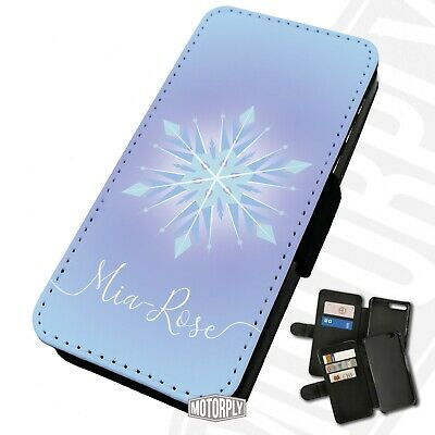 Printed Faux Leather Flip Phone Case For IPhone - Personalised Frozen Snowflake  • 9.75£