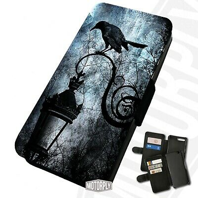 Printed Faux Leather Flip Phone Case For IPhone - Goth Raven - Creepy Night  • 9.75£