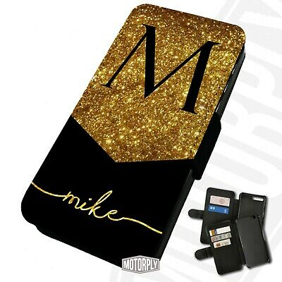 Printed Faux Leather Flip Phone Case For IPhone - Personalised Glitter Monogram • 9.75£