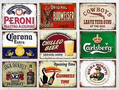 Metal Wall Signs Plaques Home Bar Pub Mancave Vintage Retro Beer Gin Alcohol • 4.99£