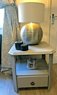 Wooden Side Table With Drawer Hand Painted In Annie Sloan Paris Grey Chalk Paint • 49.99£