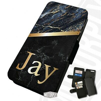 Printed Faux Leather Flip Phone Case For IPhone - Personalised Marble Monogram • 9.75£