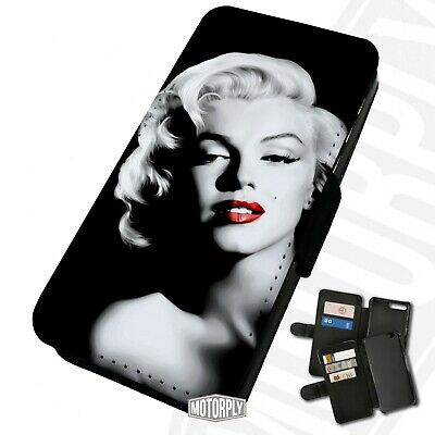 Printed Faux Leather Flip Phone Case For IPhone - Marilyn Monroe Lipstick Pose • 9.75£