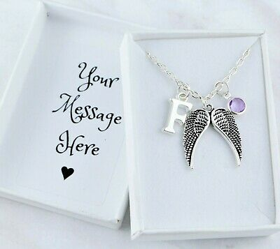 Angel Wing Necklace, Personalised, Initial And Birthstone, Memorial Jewellery • 9.49£