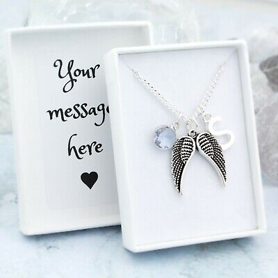 Angel Wing Necklace, Personalised, Initial And Birthstone, Memorial Jewellery • 15.99£