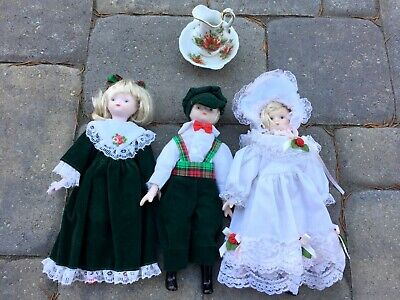 $ CDN10.83 • Buy 3 Porcelain Dolls 8  Victorian Christmas Made In Taiwan Blondes Girl And Boy