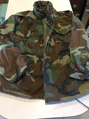 $ CDN48.33 • Buy VTG 80s M-65 Army Jacket Coat Small Short Cold Weather Camo Woodland Field