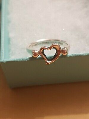 Tiffany & Co Elsa Perretti Open Heart Ring Size N Lovely Condition • 75£