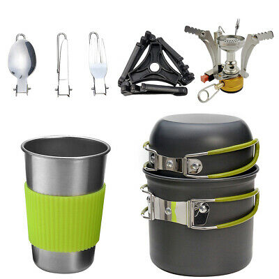 £15.99 • Buy 8Pcs/Set Portable Camping Cookware Kit Outdoor Picnic Hiking Cooking Equipment