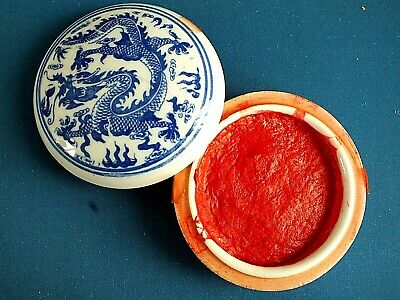 CHINESE XL 8cm RED COLOR SUMI INK PASTE DRAGON BRUSH WRITING PAINTING JAPANESE • 15.99£