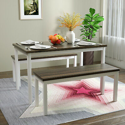 $159.90 • Buy 3 PCS Dining Table Set With 2 Benches Pine Wood Kitchen Dining Room Furniture