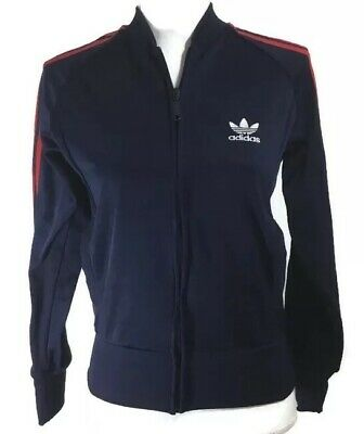 $22.40 • Buy Adidas Originals Vintage Womens Tracksuit Top Jacket Navy Blue Red Stripes Logo