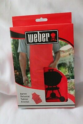 $ CDN20.04 • Buy Weber Grill Red Apron With Black Kettle Barbeque Grill Adjustable Neckband New