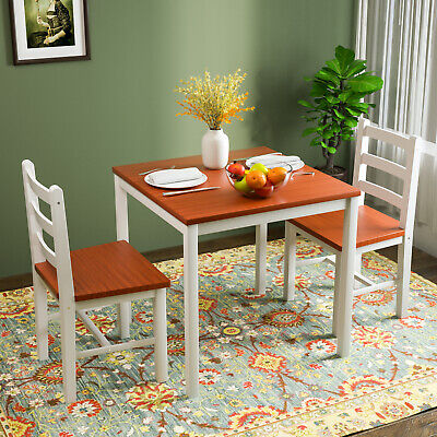 $109.90 • Buy 3PCS Dining Table Set 2 Chairs Pine Wood Kitchen Dining Room Furniture Natural